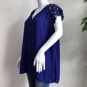 City Streets Tops - City Streets Blouse Plus 2x Blue Short Lace Sleeve